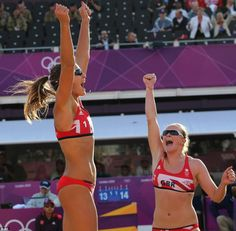 Victorious: Zara Dampney, left, from Great Britain celebrates with her teammate Shauna Mullin, right, after defeating Canada in their Beach volleyball match on Sunday. Beach Volleyball, Beach Tumblr, Horse Guards Parade, Headlines Today, British Summer, Team Gb, Sport Girl, Fitness Inspiration, Victorious