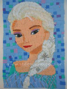 Mosaico feito com EVA.  Curso de Desenho e Artes para Crianças.