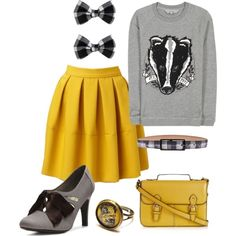 HUFFLEPUFF!! Potters House, Hufflepuff Pride, Fandom Fashion, Harry Potter Style, Harry Potter Outfits, Hogwarts Houses, Harry Potter Universal, Hogwarts Outfit, Teen Outfits