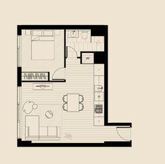Condo Floor Plans, Small Floor Plans, Bedroom Floor Plans, Small House Plans, Architectural Floor Plans, Backyard Office, Hotel Room Design, Small Modern Home, Interior Design Sketches