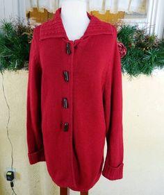 CJ Banks Toggle Button Collared Sweater Coat X Red Plus Size Winter Fall Classic #CJBanks #Sweatercoat