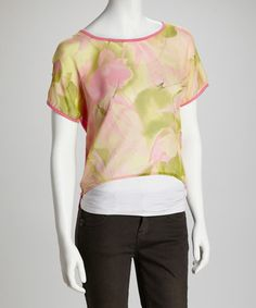 Take a look at this Pink & Green Floral Hi-Low Top by Jazzy Martini on #zulily today!