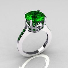 Classic 14K White Gold 3.5 Carat Emerald Solitaire by artmasters, $829.00