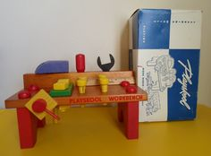 vintage retro toy Playskool Work Bench In new condition with all 22 parts and with original box