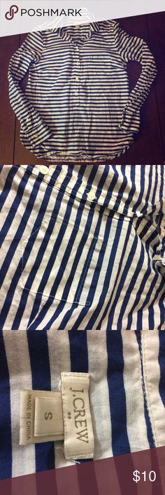 J. Crew button up Woman's size small j. Crew striped button up. Longer. Chest measures 18 inches, under arm sleeve is 18 inches and this is 25 inches long. Light wear. J. Crew Tops Button Down Shirts