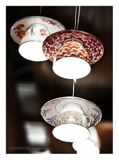 Lighting, lamp shades made from cups and saucers. I would hang these in a reading nook. Probably not for a DIYer though.