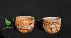 Cave art pinched piala, tea cup, tumbler, glass, planter by ArgilLina on Etsy