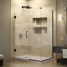 Buy the DreamLine Oil Rubbed Bronze Direct. Shop for the DreamLine Oil Rubbed Bronze Unidoor Plus 58 in. W x 30 in. D x 72 in. H Hinged Shower Enclosure, Half Frosted Glass Door, Satin Black Hardware Finish and save. Bathroom Shower Doors, Frameless Shower Doors, Small Bathroom, Master Bathroom, Shower Basin, Glass Shower, Corner Shower Enclosures, Diy Home Decor Rustic, Frosted Glass Door