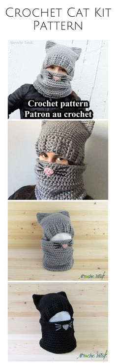 Crochet cat hat and cowl pattern
