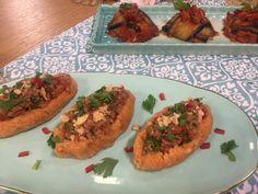 aubergines farcies à la purée de pommes de terre Baked Potato, Tacos, Potatoes, Meat, Chicken, Cooking, Ethnic Recipes, Food, Tv