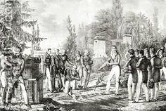 Hippolyte Lecomte: Students from the Ecole Polytechnique at the tomb of Gaspard Monge 1746-1818 -