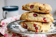 Fresh Cranberry Cream Scones with Candied Ginger