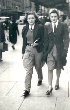 """This is a photo of my beloved grandmother, Audrey. It was taken in 1939, when she was 17, the same age I am now. On her right is her younger sister, Amba. On the way to the Tan at the Botanical Gardens for a horse ride, the two were captured walking down Swanson St, Melbourne by a street photographer. It was taken days before she enlisted in the Air Force for World War II. Personally I find it incredible that these places, that are frequented by thousands of people every day, including…"