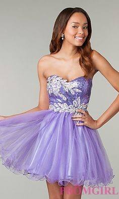 Short Strapless Purple Prom Dress at PromGirl.com. It comes in a bunch of colors. So pretty!!