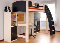 Hochbett mit schreibtisch für erwachsene  Hochbett mit Schreibtisch in buntem Mix …   Pinteres…