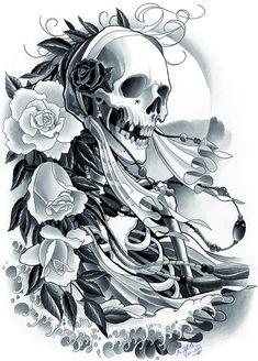 Skeleton and the Veil ©2012 Kore Flatmo, PluraBella, skull, skeleton, roses, floral, flowers, waves, water, silk paint on paper