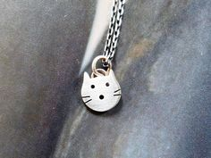 Mini cat pendant Sterling silver kitty necklace everyday by Mirma