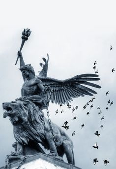 """Dream of Omnipotence by Giovanni Sottile."""" Statue at St. Statue Ange, Athena Statue, Sculpture Romaine, Statue Tattoo, Greek Statues, Buddha Statues, Roman Sculpture, Bronze Sculpture, Greek Gods"""