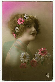 Circa 1920 French Glamour Cute Lady w Flower Band Tinted Photo Postcard | eBay