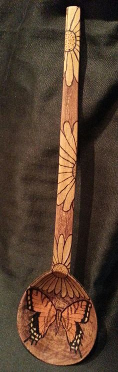 Butterfly and Flowers Wood burned Wooden Spoon by YankeeArt