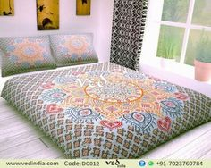 Shop the multi-colored Indian bohemian bedding set with traditional ombre floral design. This hippie duvet bed cover set is a great way to add a splash of style to any room. Handmade Duvet Covers, Modern Duvet Covers, Bed Covers, Mandala Comforter, Mandala Duvet Cover, Duvet Bedding, Linen Bedding, Bed Linen, Pottery Barn