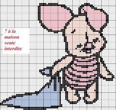 grille gratuite - Le blog de 7 à la maison, point de croix, tricot, grilles gratuites... Disney Cross Stitch Patterns, Cross Stitch For Kids, Cute Cross Stitch, Cross Stitch Designs, C2c Crochet Blanket, Crochet Chart, Cross Stitching, Cross Stitch Embroidery, Stitch Disney