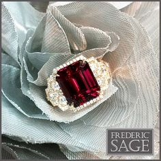Magnificent One & Only Rhodolite Garnet  Ring set in Rose Gold and Diamonds. #fredericsage #january #birthstone #garnet #rhodolite #oneandonly