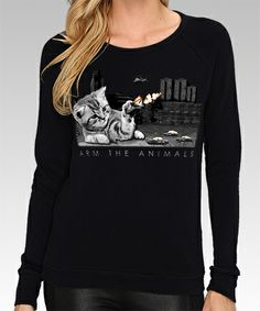 Arm The Animals Clothing #armtheanimals www.armtheanimals.com Women's Battle Cat Lightweight Crew Sweatshirt in Black