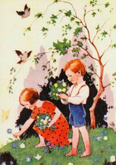 Rudolf Koivu – Finnish) Making Bouquets Of Flowers Garden Illustration, Children's Book Illustration, Vintage Book Art, Making A Bouquet, Fairytale Art, Art For Art Sake, Christmas Art, Art History, Grimm