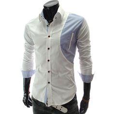 (CZ09-WHITE) Premium Slim Fit Long Sleeve Dress Shirts