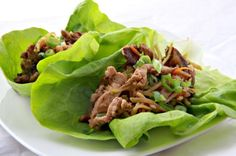 Moo Shu Pork Lettuce Wraps. SO good, they've got a permanent place in the meal rotation. Works just as well with ground pork.