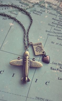 Adorable plane heart passport necklace | jewelry design