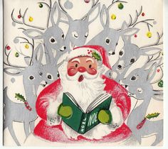 Read us a story! Santa reading to his reindeer...mid-century modern vintage Christmas illustration.