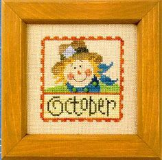 Flip-it Stamp October Cross Stitch Pattern (F43) Embroidery Patterns by Lizzie Kate