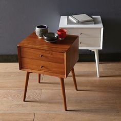 Mid-Century Nightstand #WestElm - they finally brought back the white finish!  Love the wood stain too.  Perfect for our yellow guest room.