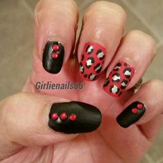 Matte black and red leopard print
