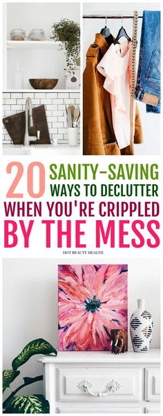 Have a plan in place to organize every space in your house (i.e. bedroom, kitchen, bathroom, car, etc)? Here are 20 ways to declutter your home and keep it organized. Follow these essential tips to have a clutter-free minimalist life. Hot Beauty Health #declutter #organize #declutteryourhome #organizedhome