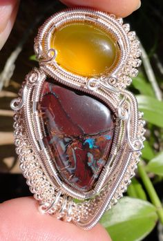 SOLD - Yowah Nut Boulder Opal Cabochon  and Carnelian Cabochon Wire Wrapped Pendant