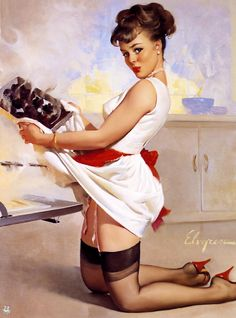 """Let's Eat Out"" - Gil Elvgren, 1967"