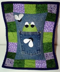 Hungry Frog Recycled Denim Tooth Fairy Pillow by BackPocketDesign