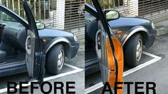 Paint or use reflective tape inside your car door so it's more noticeable to passing traffic. | 21 Insanely Clever Tricks To Vastly Improve Your Car