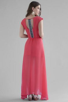 Willetta Embellished Maxi Dress We love the little details on the Willetta Embellished Maxi Dress! A back panel features embroidery & beading that pops against this long coral maxi. Style with sandals & a clutch for a special night out.