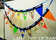 colored fabric happy 2016 New Year banner bunting - hand painted, family garland