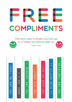 Free Printable : Never under estimate the power of giving compliments. You Rock! Social Work, Social Skills, Staff Morale, Teacher Morale, Giving Compliments, Self Appreciation, Take What You Need, Employee Recognition, Classroom Community