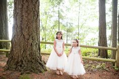 Flower girls with floral crowns by Country Bouquets Floral