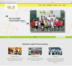 Ignite Tennis Young Ones, Tennis, Website, Design