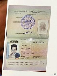 A photocopy of the document given to Edward Snowden, shown by lawyer Anatoly Kucherena, 1 August