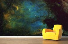 Yellow and Blue Galaxy Wallpaper Wall Mural | MuralsWallpaper.co.uk