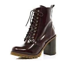 dark red lace up cleated sole ankle boots - ankle boots - shoes / boots - women