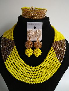 Fashion Nigeria Wedding african beads jewelry set Opaque Lemon Yellow Crystal necklace Bridal Jewelry Sets Free shipping MO-1656